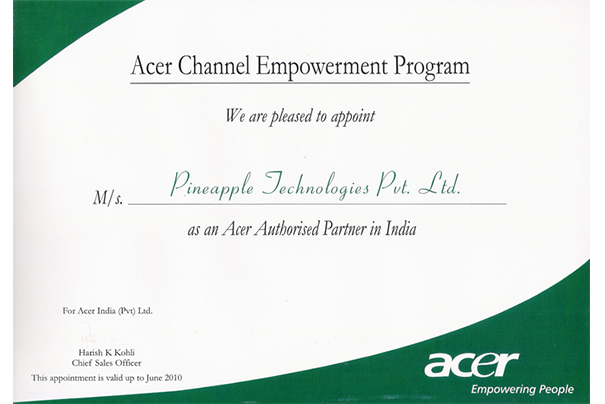 ACER-CERTIFICATE
